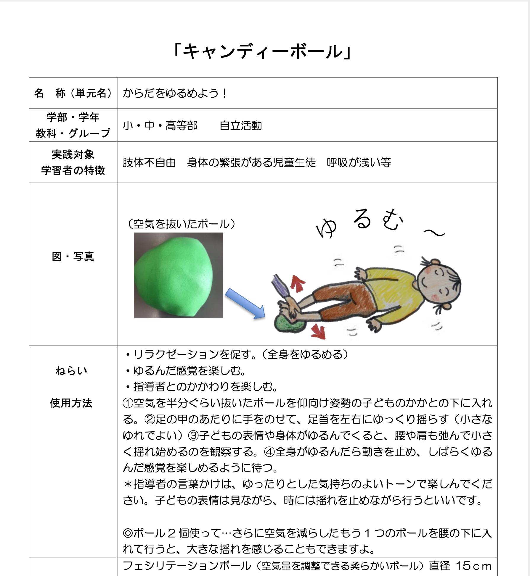 【教材紹介:キャンディーボール】空気を抜いたボールでのリラクゼーションの課題